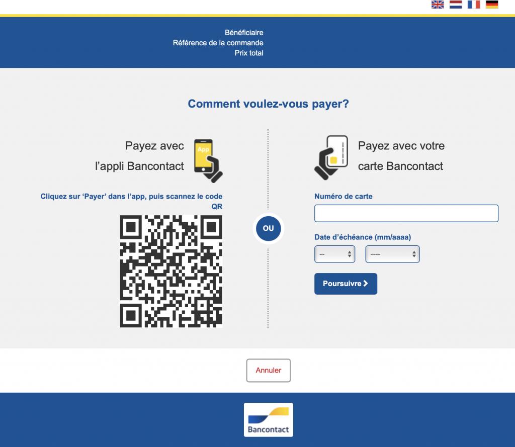 Paiement en ligne par Bancontact